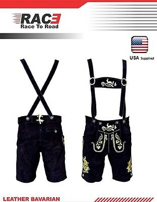 German Bavarian Lederhosen Oktoberfest Real Leather Black with Matching Shorts