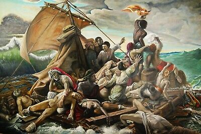 "ORIGINAL oil painting RAFT OF MEDUSA, GREEK MYTHOLOGY on canvas 53""X80"""
