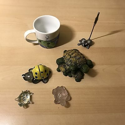 Sea Turtle Tortoise Figurine Lot Of 6 Stone Pewter Glass Resin And More
