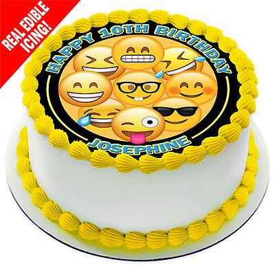 Emoji Edible Icing Cake Image Personalised Decoration Party Topper