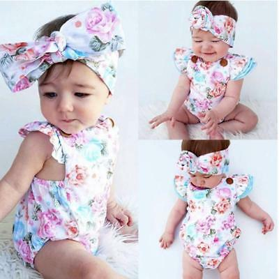 Newborn Baby Girl Cotton Backless Romper Floral Playsuit+Headband Outfits Set JJ