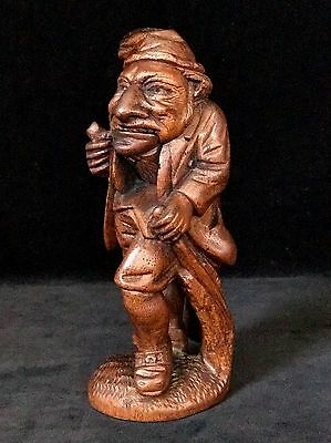 MAN SMOKING PIPE Wooden Nutcracker- Rare Antique Figural Hand Carved c.1860