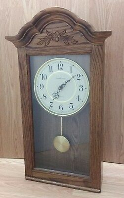 Howard Miller Oak Pendulum Clock, Floral Engraving, Westminster Chime, 612-235