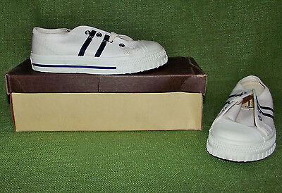 Vtg 1970s Coastal Footwear Plugger Boys Oxfords Kids Sz 8 White New Old Stock US