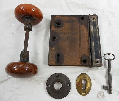 Antique 1862 Cast Iron Rim Surface Door Lock - Key - Keeper Bennington Knobs