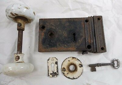 Antique PENN Cast Iron Rim Surface Door Lock - Key - Keeper & Porcelain Knobs