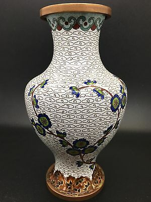 Very Good Chinese Cloisonne Enameled Copper Vase White Cloud w/ Florals (RF20)
