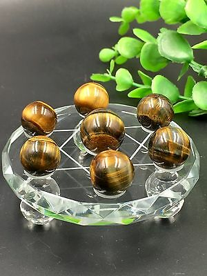A Set Seven Star Array Natural tiger eye Crystal Reiki Ball With Plate*4262