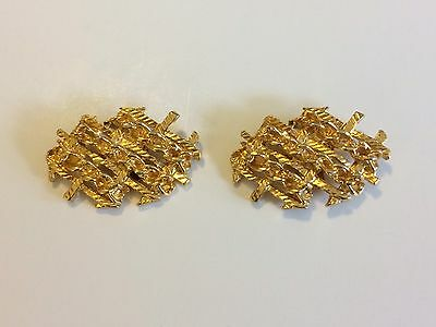 Vintage Chain Link Gold Tone Bluette Made in France Shoe Clips