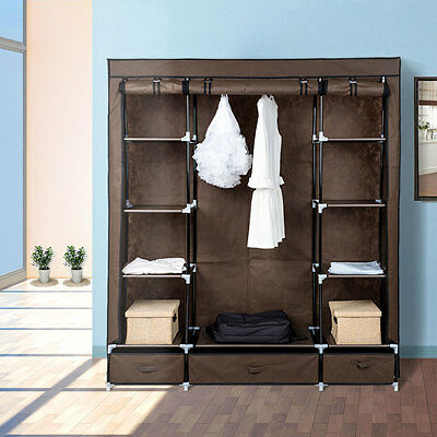 Large Portable Clothes Closet Canvas Wardrobe Storage Organizer with Drawers