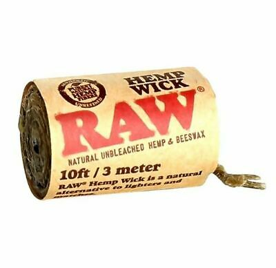 RAW Wick 3m Natural Unbleached and Beeswax Roll Cigarette Tobacco Rolling Paper
