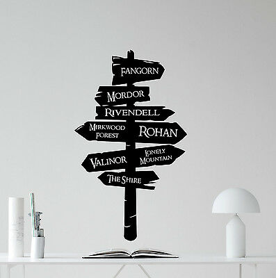 Lord Of The RIngs Wall Decal Tolkien Road Sign Vinyl Sticker Movie Decor 178crt
