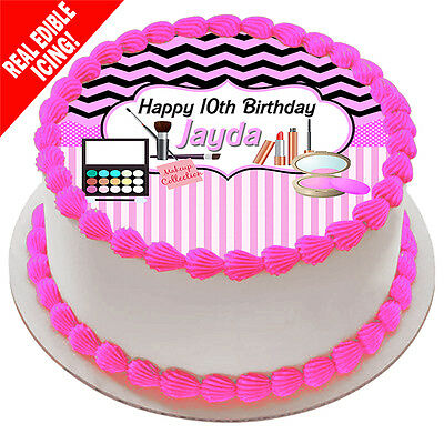 Makeup Edible Icing Cake Image Birthday Party Personalised Decoration Topper