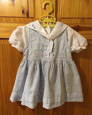 BABY GIRL VINTAGE Nautical Sailor DRESS 6-12 MONTHS Romany 80's St Michael M&S