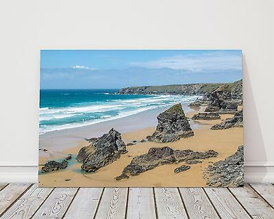 Bedruthan Steps from Cornwall canvas print framed picture wall art coastal beach