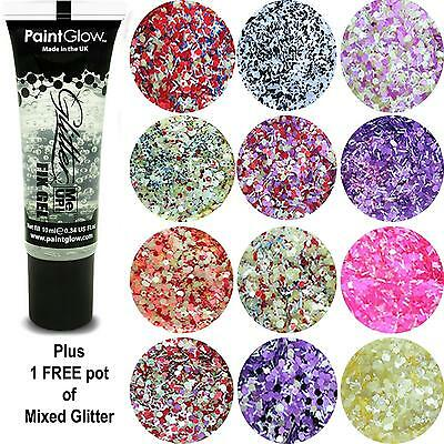 Paintglow - Fix Gel Fixative Body Glue - plus FREE pot Circles & Strips Glitter.