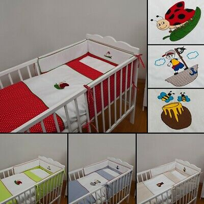 2 pieces cot bed – size 120x60;  bedding set with embroidery