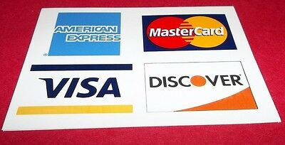 "CREDIT CARD DECAL STICKER Visa MasterCard Discover American Ex 3 3/4"" X 2 3/4"""