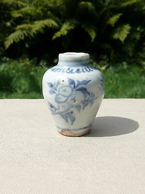 An Early Chinese Blue and White Vase Decorated with Flowers