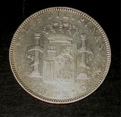 1897 Alfonso XIII UN Peso Spain / Spanish Philippines Silver Coin