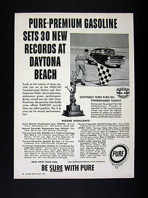 1957 Pure Oil Premium Gasoline Daytona Beach Nascar Records vintage print Ad