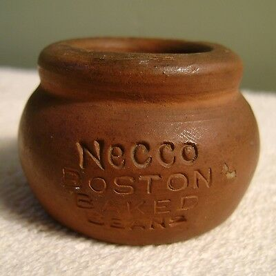 "1.25"" Antique Necco Boston Baked Beans Candy Advertising Clay Pot OK Redware"