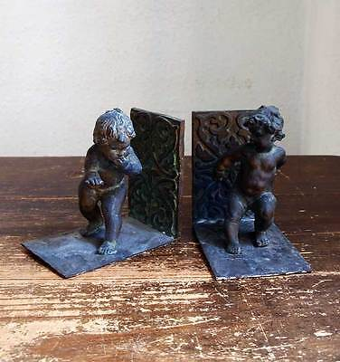 Pair of Deco Bronze Bookends Playing Two Angels Children Sculpture Antique /569