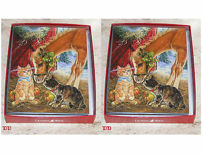 LEANIN TREE Colt, Horse with Cats ~ 24 total Christmas cards/envelopes~Notelets