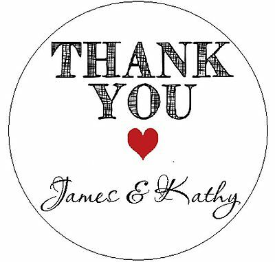 "THANK YOU with HEART  - 1"" ROUND - 63 STICKERS"