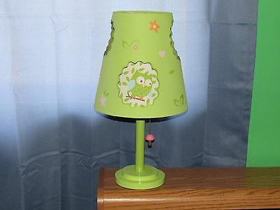 Circo Love & Nature Table Lamp: Double-cut Shade:Green w/ owls and squirrels