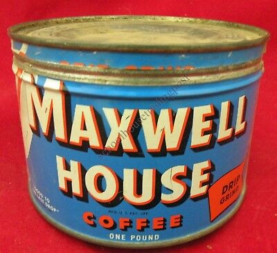 MAXWELL HOUSE Drip Grind Coffee One Pound Vintage Advertising Can/Tin Free Ship