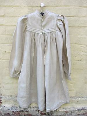 Antique mens work shirt linen hemp chore farmer smock-frock chemise small