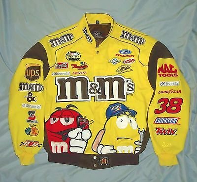M&M Nascar #38 Elliott Sadler Racing Jacket. Sz Med Yellow. JH Design