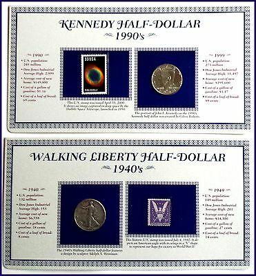 U.S. Half Dollars of the 20th Cent. Album:'93 JFK & '45 Walking Liberty + Stamps