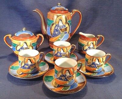 Satsuma Tea Set With 4 Demitasse Cups And Saucers - Hand Painted Immortals Japan
