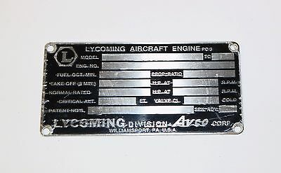Original New Old Stock Lycoming Data Plate, From El Reno Supply