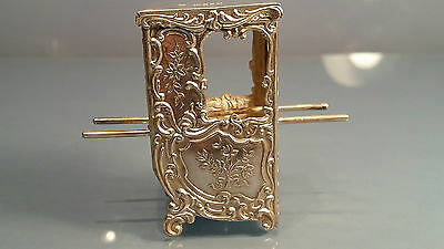 Scarce 1901 solid silver miniature sedan chair in amazing condition