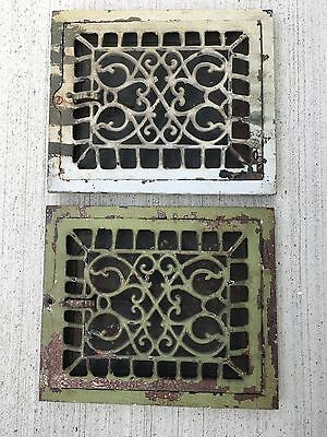 "2 Antique Cast Iron Ornate Heat Vent Register Covers Matching 12"" x 10"""