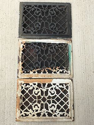 "3 Antique Cast Iron Ornate Floor Heat Vent Register Covers Matching 14"" x 10"""