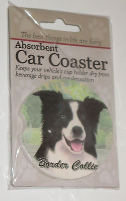 Border Collie Car Coaster Absorbent Keep Cup Holder Dry New with Defect