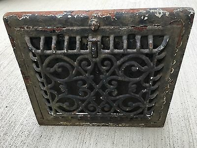 "Antique Cast Iron Ornate Wall Heat Vent Register Covers 14"" x 13"""