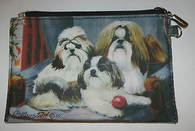 Shih Tzu Dogs Coin Purse Makeup Zippered Pouch Fully Lined New Puppies
