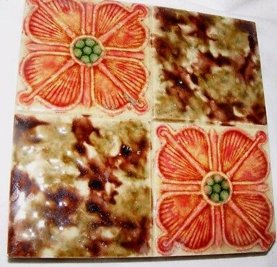 Antique Arts & Crafts Lustre Tile Stylised Roses Art Nouveau Star Mark On Verso