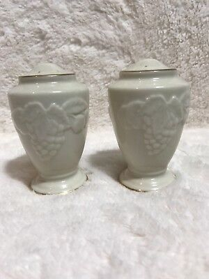 Grape Vine GOLD Trim LENOX  Salt & Pepper Shakers USA Porcelain