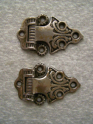 Antique Vintage Ornate Chrome Plated Brass Ice Box Hinges Matching Pair # 2984