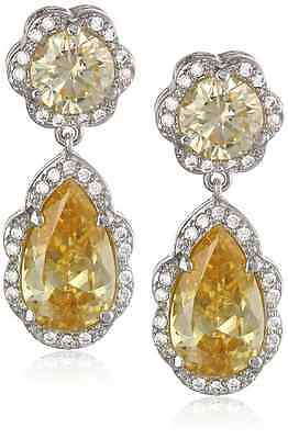 Cz By Kenneth Jay Lane Round Pear And Pave Yellow Cubic Zirconia Post Earrings