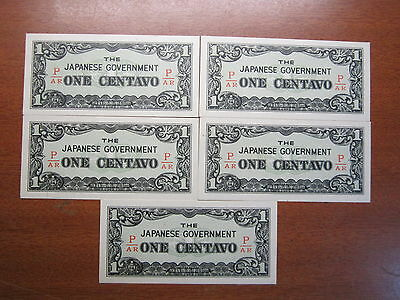 The Japenese Government One Centavo Uncirculated WWII Phillipines Bulk Lot