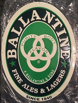 "Ballantine Fine Ales & Lagers Logo Metal Beer Sign 24x18"" - Brand New!!"