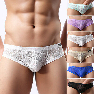 Men's Lace Sheer Underwear Thong Bikini Boxer Briefs G-String Shorts Underpants