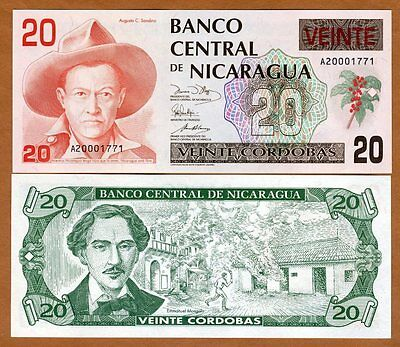 Nicaragua, 20 cordobas, ND (1990), P-176, A-Serie, UNC > Colorful